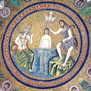 Mosaic, Arian Baptistry in Ravenna, 500's.